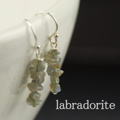 Labradorite Chip Earrings Stainless Steel