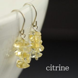 Citrine Gemstone Chip Earrings on Stainless Steel