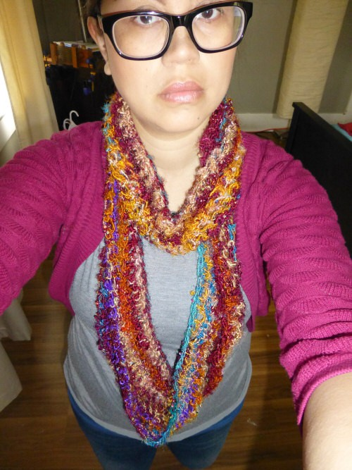 upcycled sari silk banana fiber yarn made into a continuous scarf - doubled over