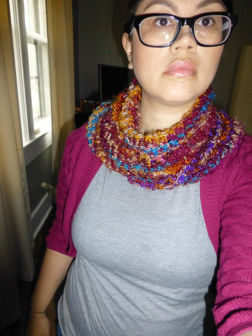 twice folded over and fanned out - cowl like