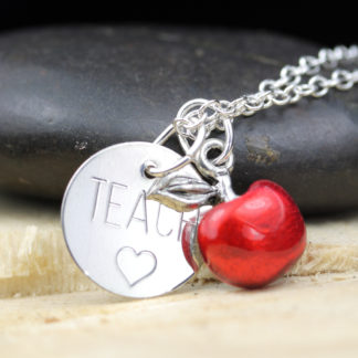 Sterling silver TEACH engraved necklace with red resin apple charm