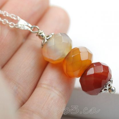 Fire Agate Stack Pendant Sterling Silver Necklace