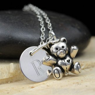 Sterling Silver Teddy Bear Keepsake Necklace