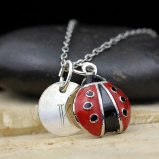 Enameled Ladybug Keepsake Necklace Sterling Silver