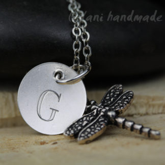dragonfly and engraved letter charm silver necklace