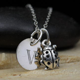 silver ladybug with engraved initial charm necklace