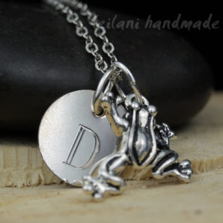 leaping frog charm with engraved initial charm silver