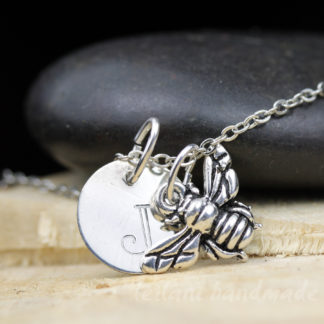 silver bee charm necklace with letter charm