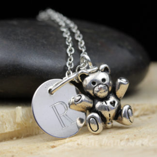 silver teddy bear necklace with letter charm
