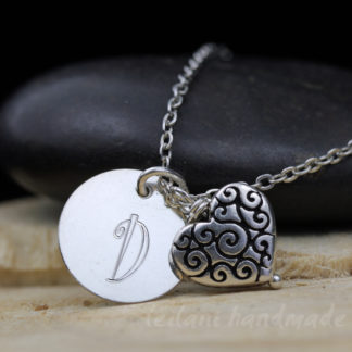 sweetheart necklace swirl heart charm and letter charm silver