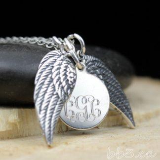 Angel Wings Sterling Silver Monogram Necklace