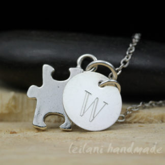 sterling silver puzzle charm necklace