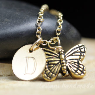 butterfly keepsake necklace gold filled with engraved letter charm