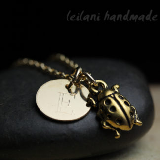gold ladybug charm with engraved letter charm gold-filled necklace