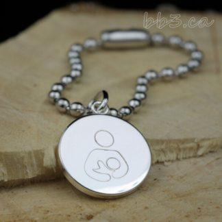 Bulk Discount Silver Breastfeeding Awareness Symbol Keycahin Bag charm
