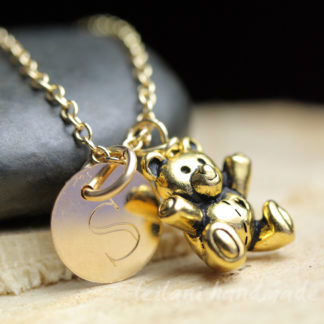 cute gold teddy bear charm with gold-filled emgraved letter charm necklace