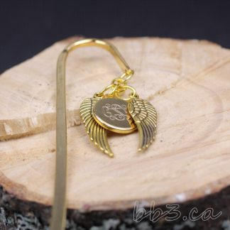 Gold Angel Wings Bookmark with Monogram