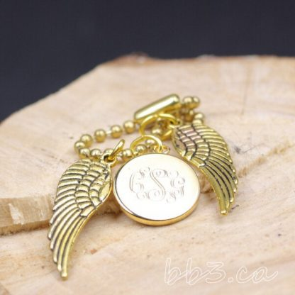 Gold Angel Wings Keychain Bag charm with Monogram