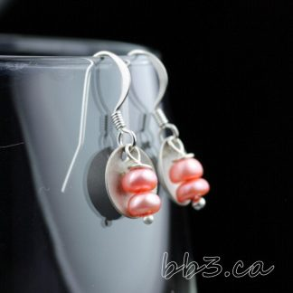 Earrings Pink Button Pearls with Antiqued Silver Disks