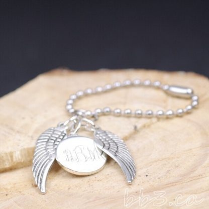 Silver Angel Wings Keychain Bag charm with Monogram