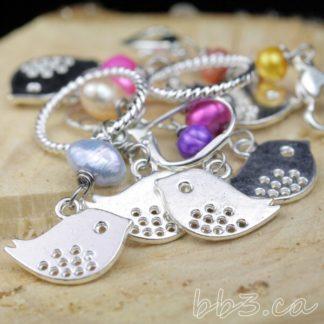 silver bird stitch markers