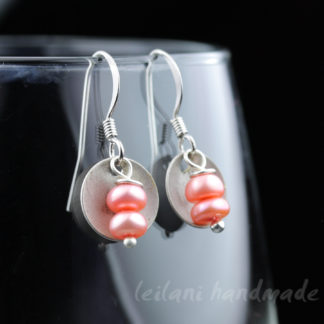 double stack pink pearls and antique silver domed disk