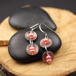 stainless steel pink pearl dangle earrings