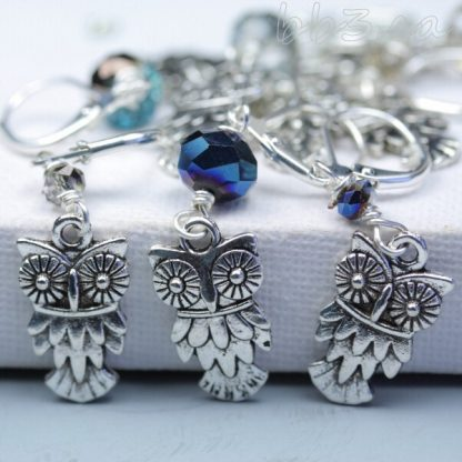 Stitch Markers: Slip On or Clip On - Silver Owl