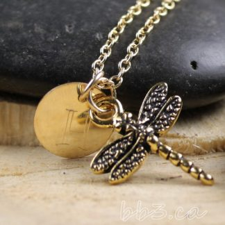 Dragonfly keepsake Necklace Gold Filled