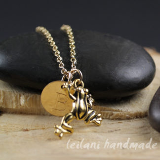 leaping frog necklace in gold with engraved letter charm