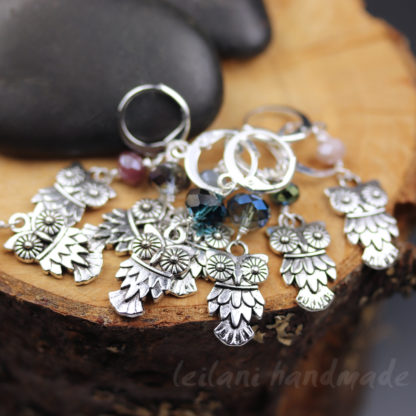silver owl stitch markers