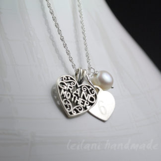 Sterling Silver Brand mother necklace Heart Charms