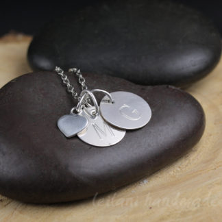 tiny heart charm with engraved letter charms necklace