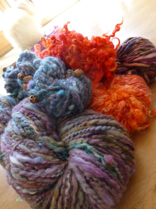 just a few of my fave yarns I spun