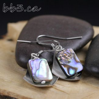 Abalone Shell Earrings with Antiqued Steel