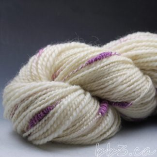 Handspun Yarn: White Coopsworth with Purple Stacks