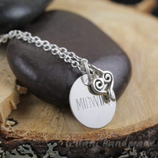 disk engraved with MIDWIFE with heart charm necklace