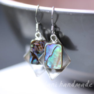 irridescent abalone shell earrings with antique steel accent