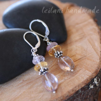 faceted ametrine amethyst citrine sterling silver leverback earrings