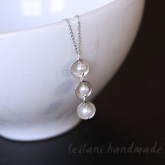 triple stack hand domed antique silver pearl necklace