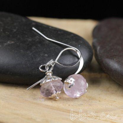 Faceted Pink Amethyst Earrings Gemstone