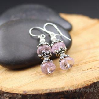 pink amethyst faceted earrings
