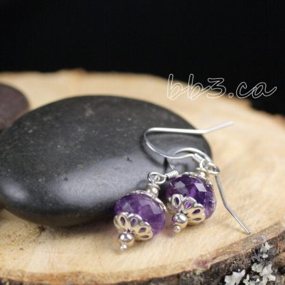 Faceted Pink Amethyst Earrings Gemstone