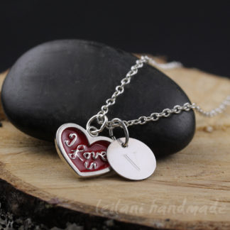 red i love you charm necklace