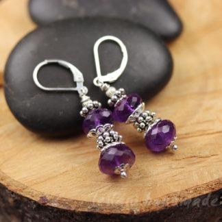 faceted amethyst rondelle earrings