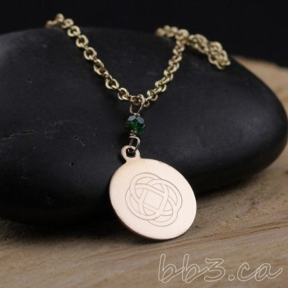 Engraved Celtic Knot Necklace 14kt Gold-filled with Emerald Gemstone