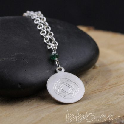 Sterling Silver Engraved Celtic Knot Necklace with Emerald Gemstone