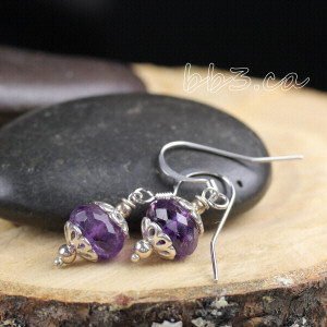 handmade faceted sterling silver amethyst earrings are this month's newsletter giveaway