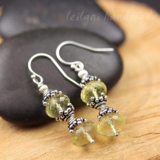 sparkly lemon quartz earrings with pewter bead cap accents
