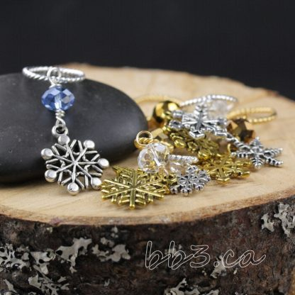Stitch Markers Knitting Bling: Snowflakes Assorted Silver and Gold